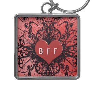 BFF Best Friends Forever Grunge Heart Keychain