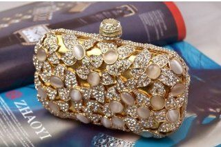 Luxury Cat's Eye Crystal Handbag Chrysoberyl Glamour Bling Fake Opal Pave Evening Clutch Celebrities Handbag Cell Phones & Accessories