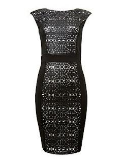 Paper Dolls OU laser cut midi dress Black