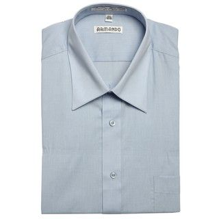 Armando Men's Light Blue Convertible Cuff Dress Shirt Dress Shirts