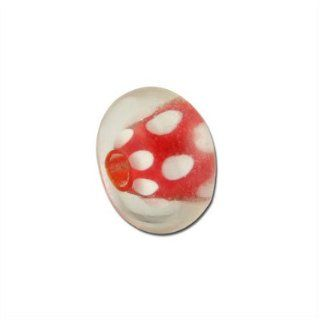 12mm Bright Red with White Dots Glass Lampwork Beads