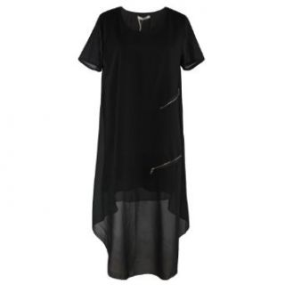 1veMoon Women's Elegant Solid Round neck Short sleeve High Low Long Dress, Black, Regular Sizing 8