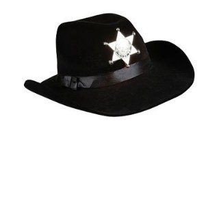 Deluxe Black Felt Cowboy Stetson Sheriff Hat With Badge: Clothing