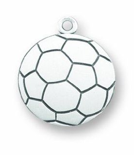 Saint Christopher 1 Inch .925 Sterling Silver Soccer Sports Medal: Jewelry