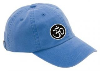 AUM Yoga Meditation Symbol Ladies Garment Washed OM Hat Cap   Faded Blue: Clothing
