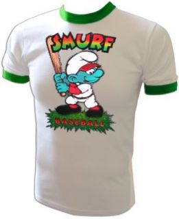 Vintage 1981 Glitter Peyo Smurf Smurfs original Iron On T Shirt RARE COLLECTIBLE: Fashion T Shirts: Clothing