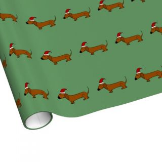 Funny Dachshund Dog in Santa Hat Christmas Wrap Wrapping Paper