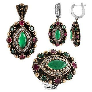 Sterling Silver Ruby and Emerald Simulated Stone Turkish Pendant Earrings and Ring Jewelry Set: Jewelry