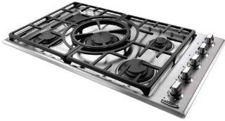 "Capital MCT365GS N Maestro Series 36"" Natural Gas Cooktop with 5 Sealed Burners, Indicator Lights and Reversible Central Wok Grate in Stainless Steel: Appliances"