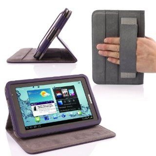 SUPCASE Premium Ultra Slim Frame Design Leather Case Cover (Purple) for Samsung Galaxy Tab 2 7.0 inch Tablet (Elastic Hand Strap; Multi Angle Stand)   Touch Screen Tablet Computer Cases