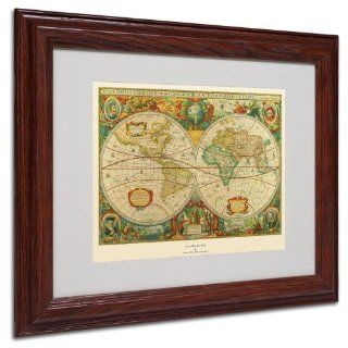 Trademark Fine Art Old World Map Painting Canvas Artwork in Wood Frame, 11 by 14 Inch   Oil Paintings