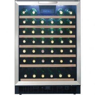 Danby Designer Series DWC508BLS 24'' Built in Wine Cooler with 50 Bottle Capacity, 6 1/2 Sliding Wire Wine Racks, Beachwood Face, LED Digital Thermostat, Interior LED and Reversible Door Electronics