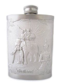 Pewter Flasks for Liquor Brass Bronze with Elephant Duel Bas Relief Thailand Alcohol And Spirits Flasks Kitchen & Dining