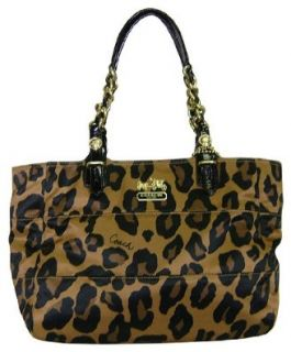 Coach Madison Ocelot Leopard Animal Print East West Gallery Bag Purse Brown Shoes