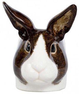 Quail Ceramics Dutch Rabbit Ceramic Egg Cup   Brown & White Trivets Kitchen & Dining