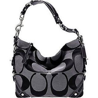 Coach Signature Carly Sac Shoulder Hobo Handbag Bag Purse Tote 18792 Black White Satchel Style Handbags Clothing