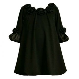Bonnie Jean Toddler Girls 2T 4T BLACK KNIT SATIN ROSETTE NECKLINE BUBBLE SKIRT Special Occasion Wedding Flower Girl Pageant Party Dress 4T BNJ 2108B B22108 Infant And Toddler Special Occasion Dresses Clothing