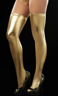 Exotic Gold Wet Look Thigh High Leggings   One Size Leggings Pants Clothing