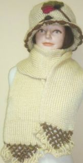 Hand Crocheted Acrylic Heavy Scarf Neck Warmer and Hat Suitable to Wear in Very Cold Weather for Women and Teens Clothing