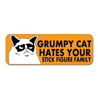 Grumpy Cat Orange HATES YOUR STICK FIGURE FAMILY Car Sticker Decal Phone Small 3""