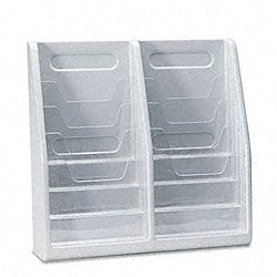 Deflecto Multi tiered Gray Magazine Holder