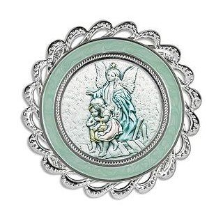 "Guardian Angel with Children Walking Over Bridge Blue Crib Medal Sterling Silver Religious Artwork. Sterling Silver/silver Plate/enamel    3"" Dia    Series 10b Crib Medal. Adorable for a Baby's Room, These Crib Medal Frames From Italy Are Perfect"