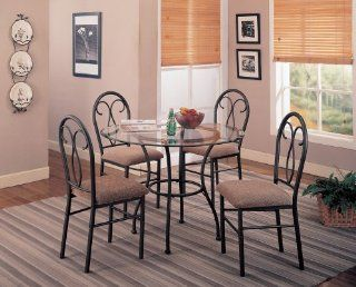 Odelia 5 Piece Metal Base Glass Table Dining Set by Coaster Furniture: Furniture & Decor
