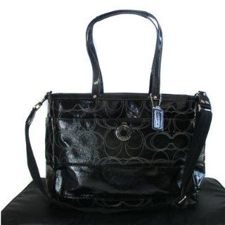 Coach Signature Stripe Stitched Patent Multifunction Tote Diaper Baby Bag New Design Black F19256 New with Tag : Baby