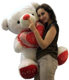 Giant Plump Soft Teddy Bear 3 Feet Tall Measured While Sitting White Color with Bigfoot Paws and Big Plush I LOVE YOU Heart Pillow Giant Stuffed Teddybear Animal: Toys & Games