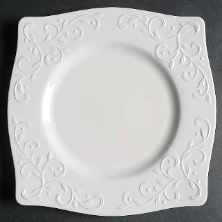 Lenox China Opal Innocence Carved Square Accent Salad Plate, Fine China Dinnerware: Kitchen & Dining