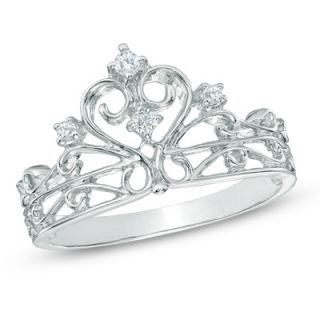 10 CT. T.W. Diamond Crown Ring in Sterling Silver   Zales