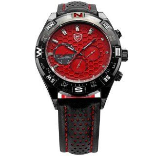 SHARK Mens 6 Hands Date Day Red Dial Sport Quartz Wrist Watch + Gift Bo SH082 at  Men's Watch store.