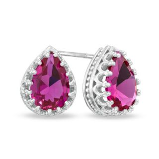 Pear Shaped Lab Created Ruby Crown Earrings in Sterling Silver   Zales