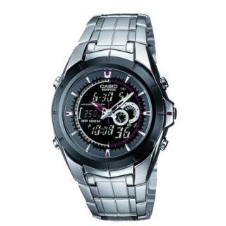 Casio Mens Black Face Ana Digi Watch   Silver (