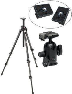 Manfrotto 055CXPRO3 Carbon Fiber Tripod/498RC2 Head and 2 Bonus RC2 Replacement Plates  Camera & Photo