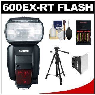 Canon Speedlite 600EX RT Flash with Tripod + Soft Box + Batteries & Charger + Kit for EOS EOS 6D, 70D, 5D Mark II III, Rebel T3, T3i, T4i, T5, T5i, SL1 Cameras : On Camera Shoe Mount Flashes : Camera & Photo