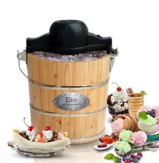 MaxiMatic EIM 502 Elite Gourmet 4 Quart Old Fashioned Pine Bucket Electric/Manual Ice Cream Maker Kitchen & Dining