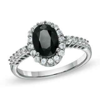 Oval Black and White Sapphire Frame Ring in Sterling Silver   Zales