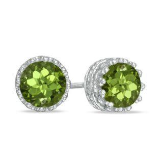 0mm Peridot Crown Earrings in Sterling Silver   Zales