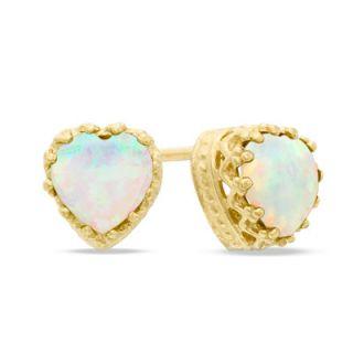 0mm Heart Shaped Lab Created Opal Crown Earrings in Sterling Silver