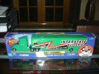 2000 Edition Bobby Labonte #18 Interstate Batteries 1/64 Scale Transporter Hauler Tractor Trailer Semi Rig Truck Winners Circle Hasbro 1/64 Scale Metal Cab, Plastic Trailer: Toys & Games