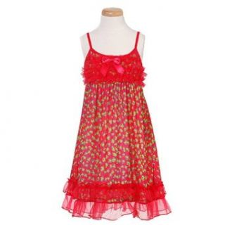 Laura Dare Little Girls Red Animal Print Nightgown 6X Clothing