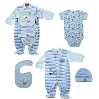 Hudson Baby 4 Piece Little Doggie Layette Set   Blue, 6 9 Months Infant And Toddler Layette Sets Clothing
