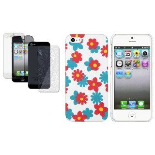 CommonByte 3D Bling Film+Blue White Red Flower Floral Rubber Case For iPhone 5 XMAS Gift: Cell Phones & Accessories
