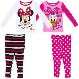 "Disney ""Minnie Mouse & Daisy Duck"" Pink/White 4 pc. Toddler Pajama Set 2T: Clothing"