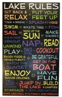 Shop Lake House Rules Sign  Black   18 x 30   Makes a Great Decoration, Wall Art, Gift, Decor in Any Beach House, Cabin, Cottage, Home, or Lodge. Made in USA. at the  Home D�cor Store