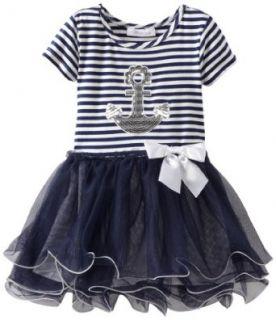 Bonnie Jean Girls 2 6X Anchor Ballerina Dress, Blue, 3T Playwear Dresses Clothing