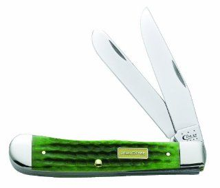 Case Cutlery 15707 John Deere Corn Cob Jigged Trapper Knife, Bright Green   Pocketknives