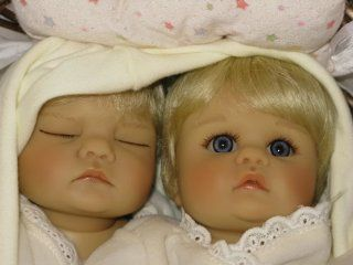"Gotz Collectible Twins Twin Life like Baby Dolls 12"" in Basket: Toys & Games"