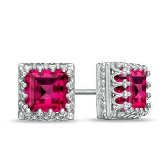 0mm Princess Cut Lab Created Ruby Crown Earrings in Sterling Silver